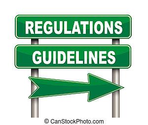 Regulations guidelines green road sign - Illustration of ...