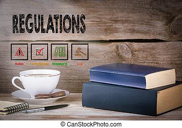 regulations., pilha livros, ligado, escrivaninha madeira