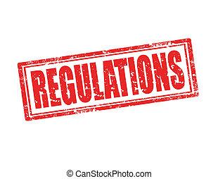 Grunge rubber stamp with word Regulations inside, vector illustration