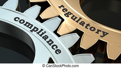 Regulatory Compliance gearwheels, 3D animation video