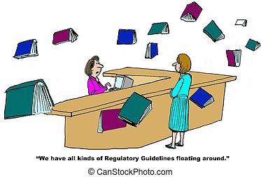 Regulatory Guidelines - Business cartoon on regulatory...