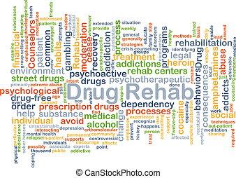 reha, begriff, droge, hintergrund