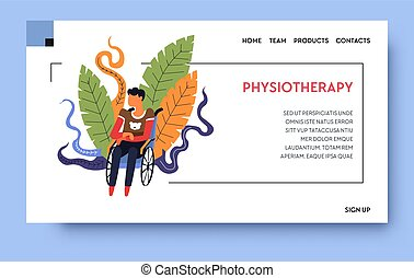 Rehab clinic and physiotherapy, patient on wheelchair...