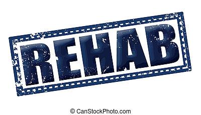 rehab grunge stamp whit on vector illustration