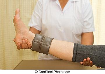 rehab, muscle, opleiding, voor, been, met, lichamelijke therapist