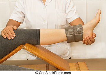 rehab, opleiding, voor, knie, en, quatriceps, muscle, met,...