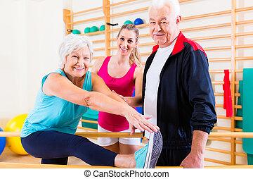rehab, personne agee, thérapie, physique