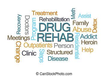 rehab, szó, kábítószer, felhő