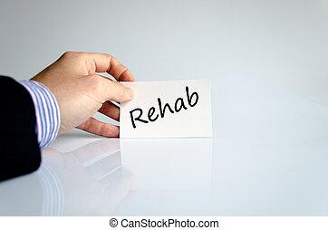 rehab, tekst, concept