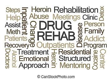 rehab, woord, medicijn, wolk
