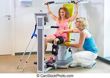rehabilitacja, dostając, pacjent, pomoc, noga