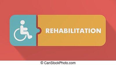 rehabilitatie, concept, in, plat, design.