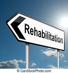 rehabilitatie, concept.