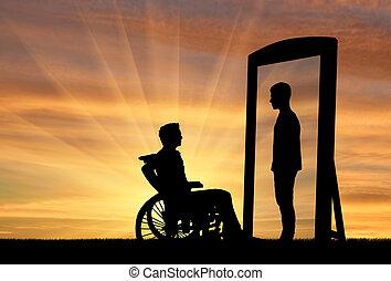 rehabilitatie, gehandicapte man