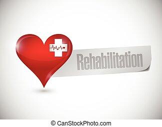 rehabilitatie, hart, meldingsbord, illustratie, ontwerp