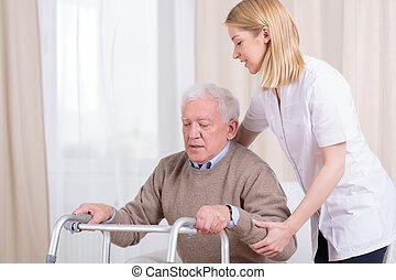 rehabilitatie, in, verpleeghuis