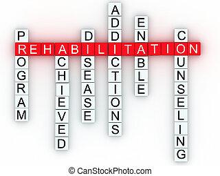 rehabilitatie, medisch, boodschap, concept.