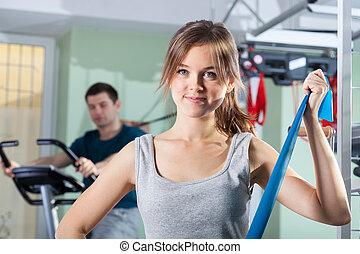 rehabilitatie, oefeningen, op, fysiotherapie, kliniek
