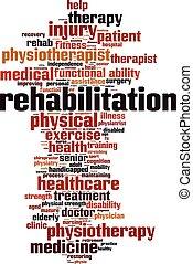 rehabilitatie, woord, wolk, concept