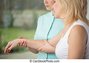Blonde woman participating in rehabilitation after stroke