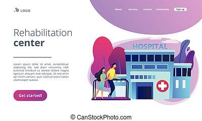 Rehabilitation center concept landing page. - Therapist...