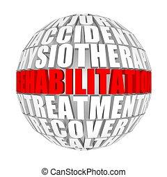 Rehabilitation. - circle words on the ball on the topics