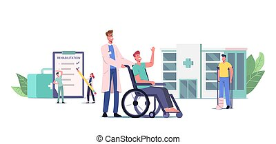 Rehabilitation Concept. Doctor Push Wheelchair with Injured Character with Bandaged Leg, Patient with Broken Limb
