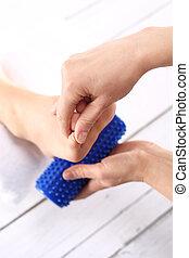 Rehabilitation foot massage,