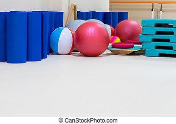 rehabilitation gym equipment - interior of rehabilitation...