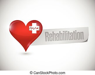 rehabilitation heart sign illustration design over a white...