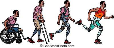 rehabilitation., hombre, pierna, africano, evolución,...