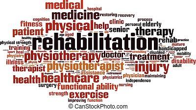 Rehabilitation word cloud concept. Vector illustration