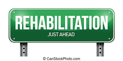 rehabilitation, straße zeichen, abbildung, design