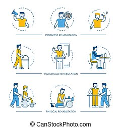 Rehabilitation vector human man icons for cognitive, physical and household rehabilitation medicine therapy