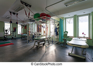 rehabilitation, zimmer, an, physiotherapie, klinik