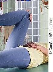 rehabilitering, i, tvinde, knæ
