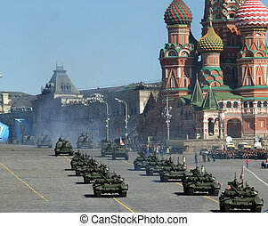 Rehearsal of military parade on Red Square Moscow, Russia. ...