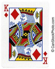 rei, -, cartão jogando, diamantes