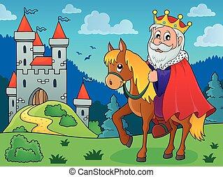 rei, cavalo, tema, imagem