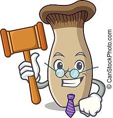 rei, cogumelo, juiz, trompete, caricatura, mascote