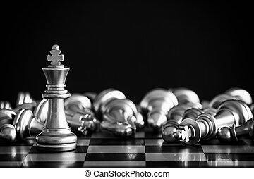 rei, conceito, negócio jogo, desafio, inteligência, chessboard, isolado, competição, experiência., strategy., levantar, pretas, xadrez, play., batalha, sucesso, líder, mercado, alvo