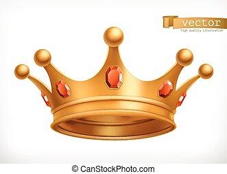 rei, coroa ouro, vetorial, ícone, 3d