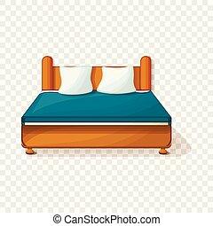 rei, estilo, cama, ícone, caricatura, tamanho