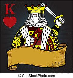 rei, estilo, tatuagem, ilustração, corações, bandeira