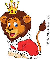 rei, leão, caricatura, equipamento