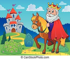 rei, ligado, cavalo, tema, imagem