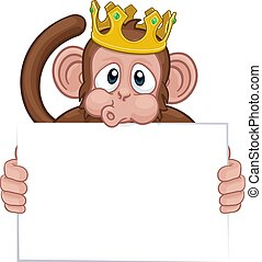 rei, macaco, animal, coroa, sinal, segurando, caricatura