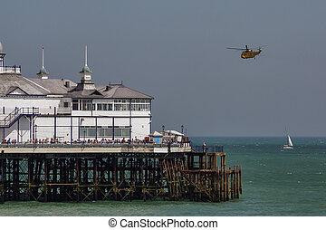 rei mar, har3, helicóptero, exposição, em, airbourne
