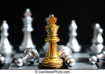 rei, ou, ouro, decision), companhia, fundo, rosto, estratégia, jogo, pretas, xadrez, outro, equipe, (concept, negócio, prata, vitória