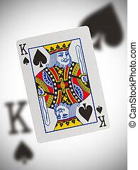 rei, pás, cartão jogando